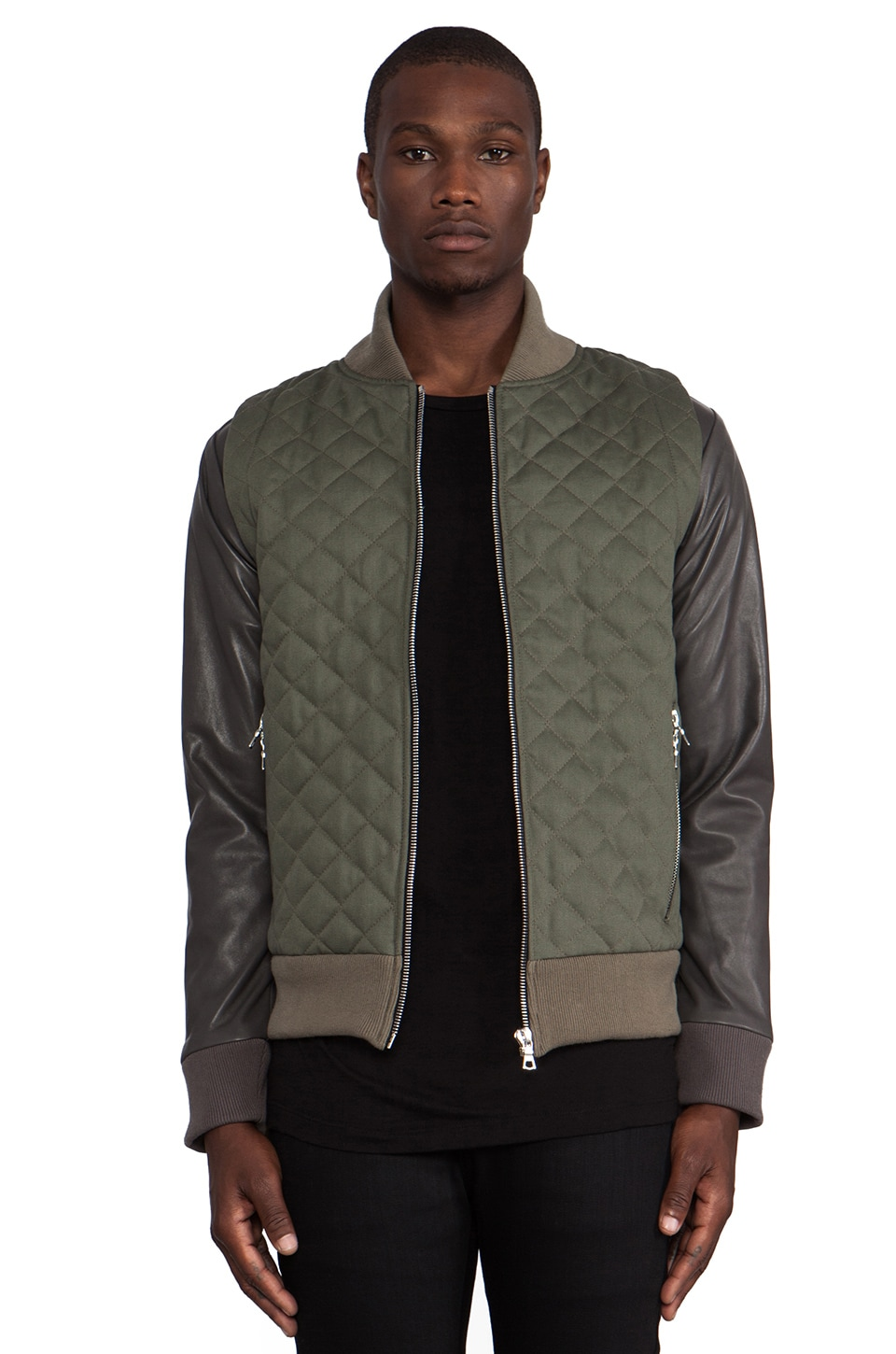 JOHN ELLIOTT Quilted Bomber in Olive Green/ Slate