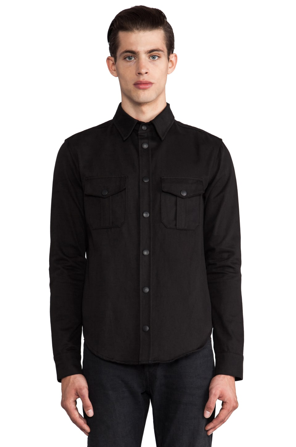 JOHN ELLIOTT Snap Overshirt w/ Leather Elbow Pads in Black/Slate