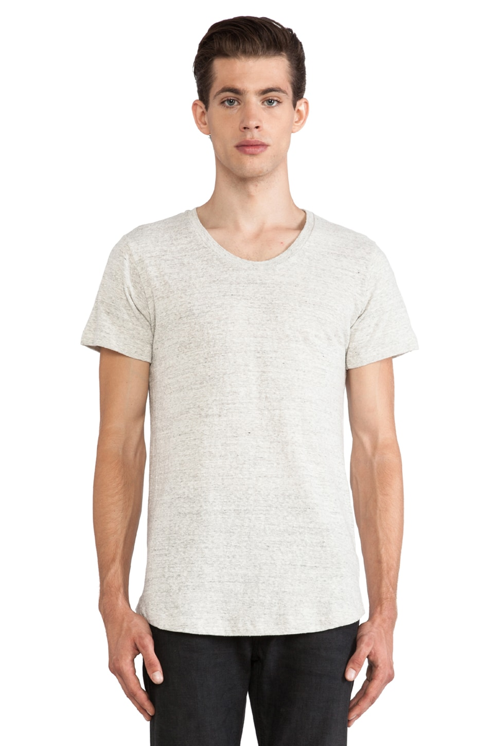 JOHN ELLIOTT Curve U-Neck Tee in Silk Grey