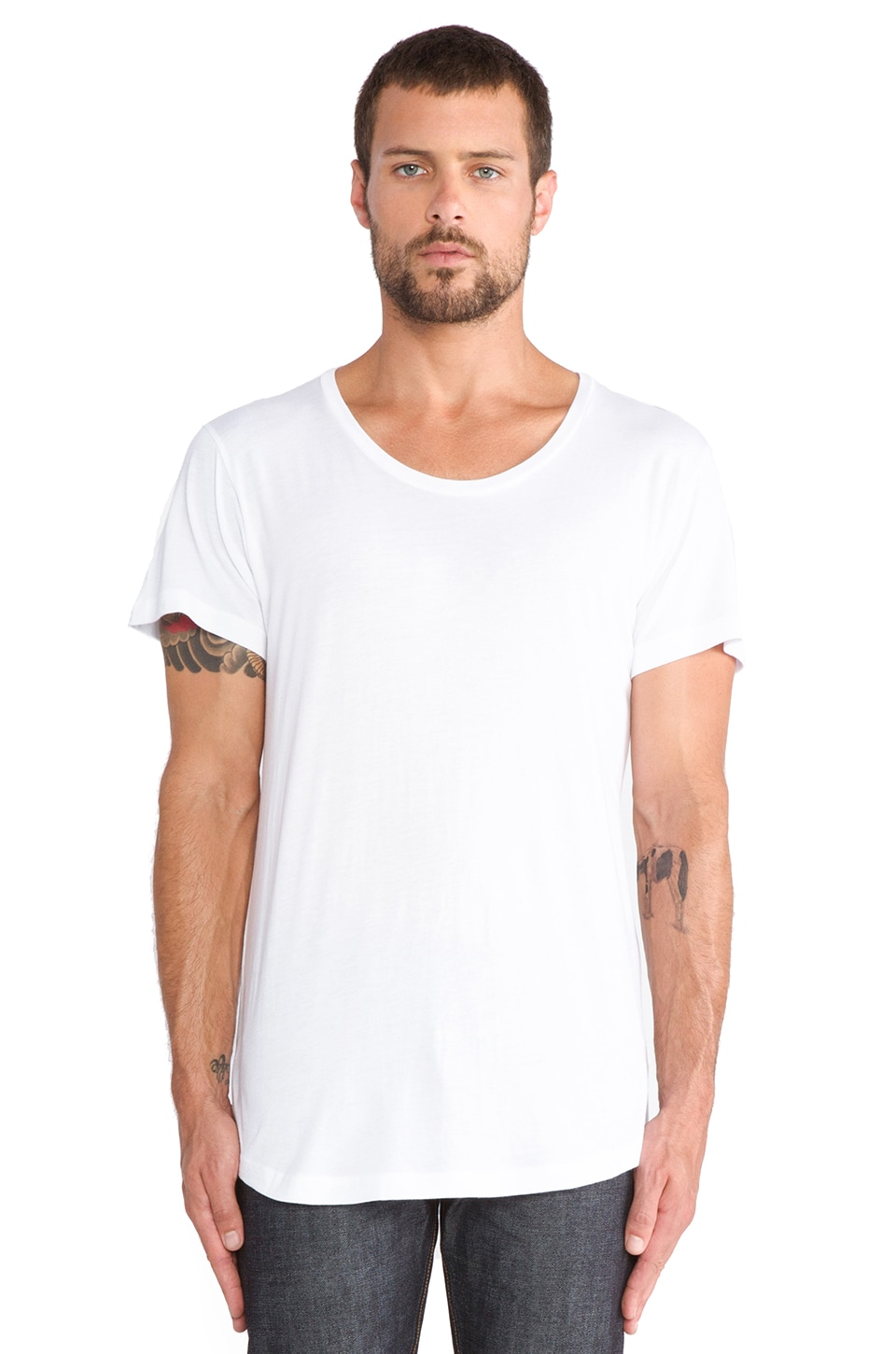 JOHN ELLIOTT Curve U-Neck Tee in White