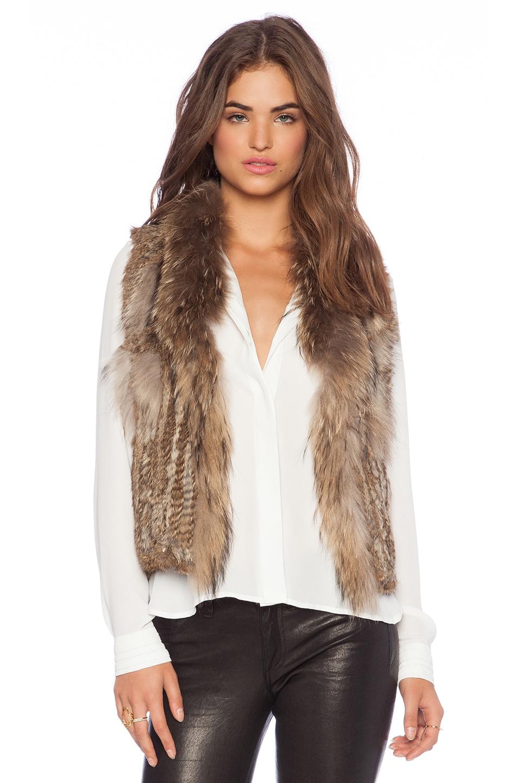 Jennifer Kate Short Rabbit Fur Gilet Vest in Caramel