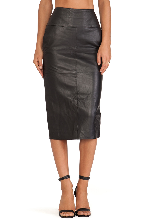 Jennifer Kate Leather Pencil Skirt in Black
