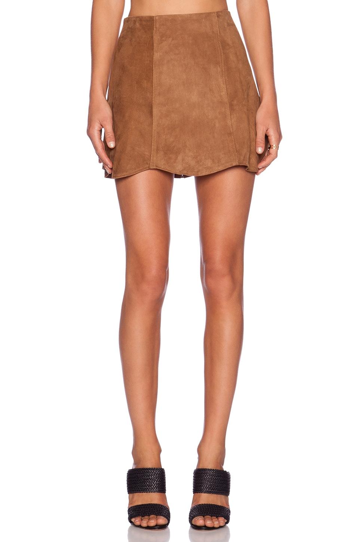 Jennifer Kate Suede Mini Skirt in Camel | REVOLVE