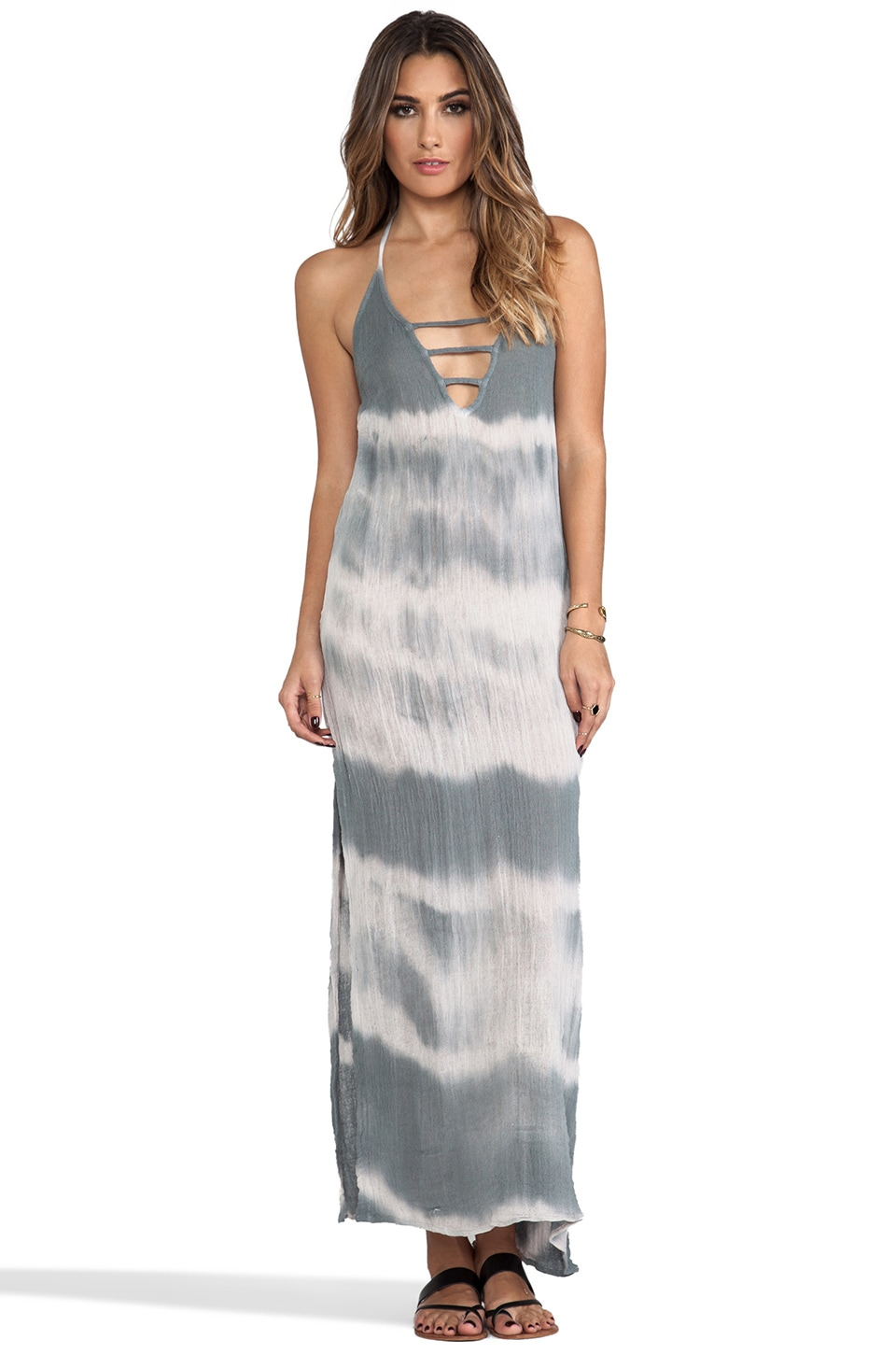 Jen's Pirate Booty Zumirez Long Tie Dye Dress in Storm Cloud