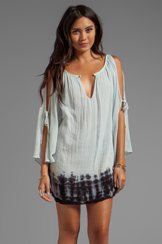 Jen's Pirate Booty Hot Summer Nights Shoulder Mini Dress in Silver/Black Edge Dye