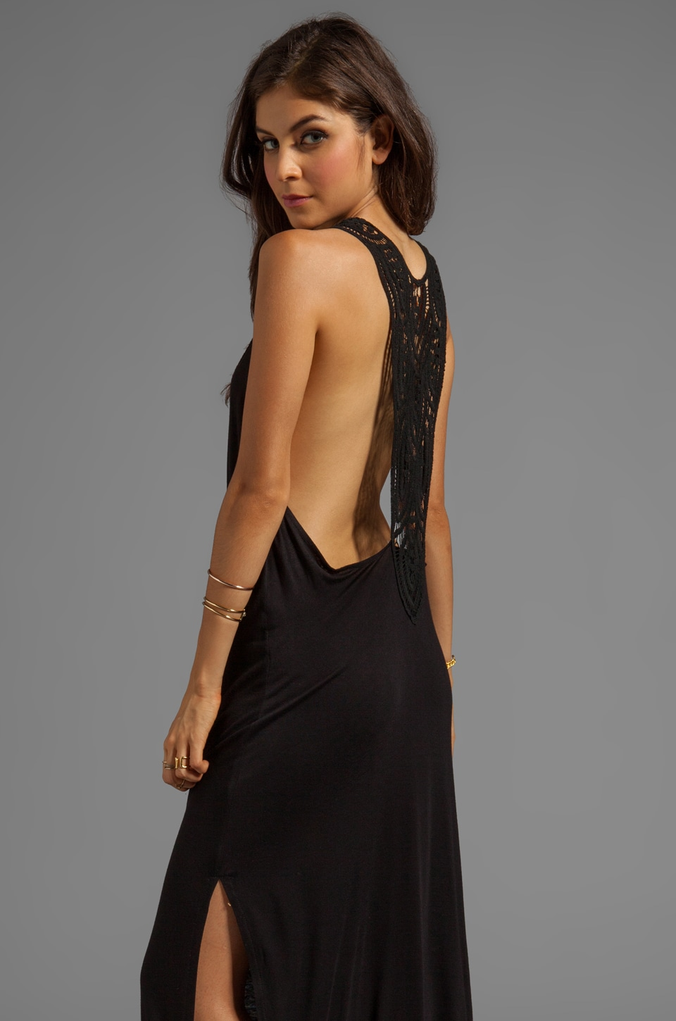 Jen's Pirate Booty Hallelujah Jersey Gown in Negro/Black Crochet
