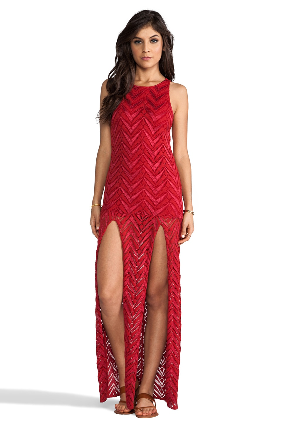 Jen's Pirate Booty Woodland Spirit Zig Zag Lace Slit Dress in Red