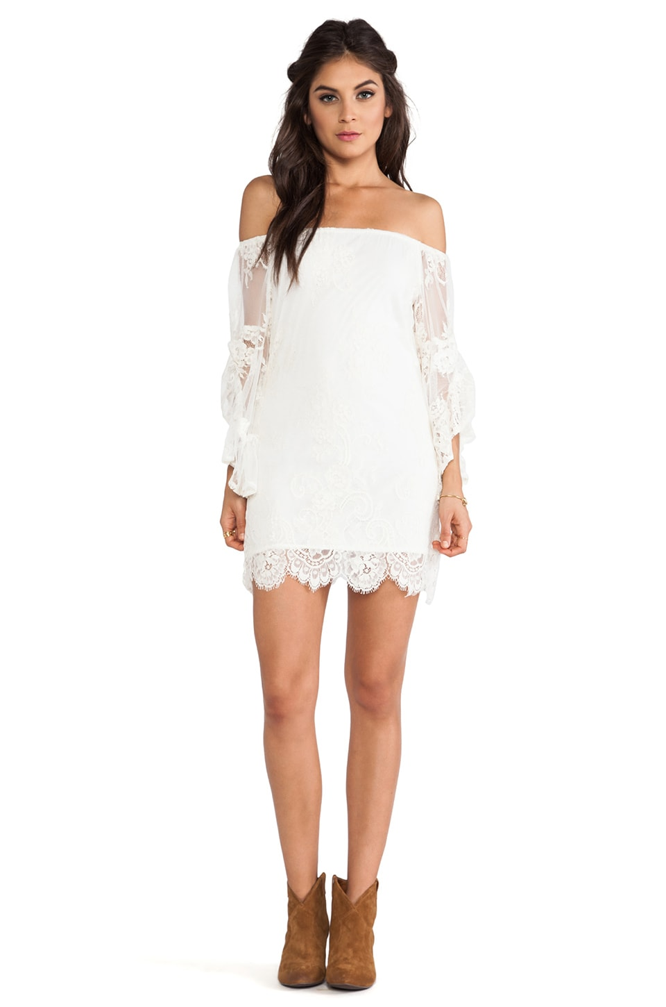 Jen's Pirate Booty Ethereal Bardot Mini Dress in White Sand
