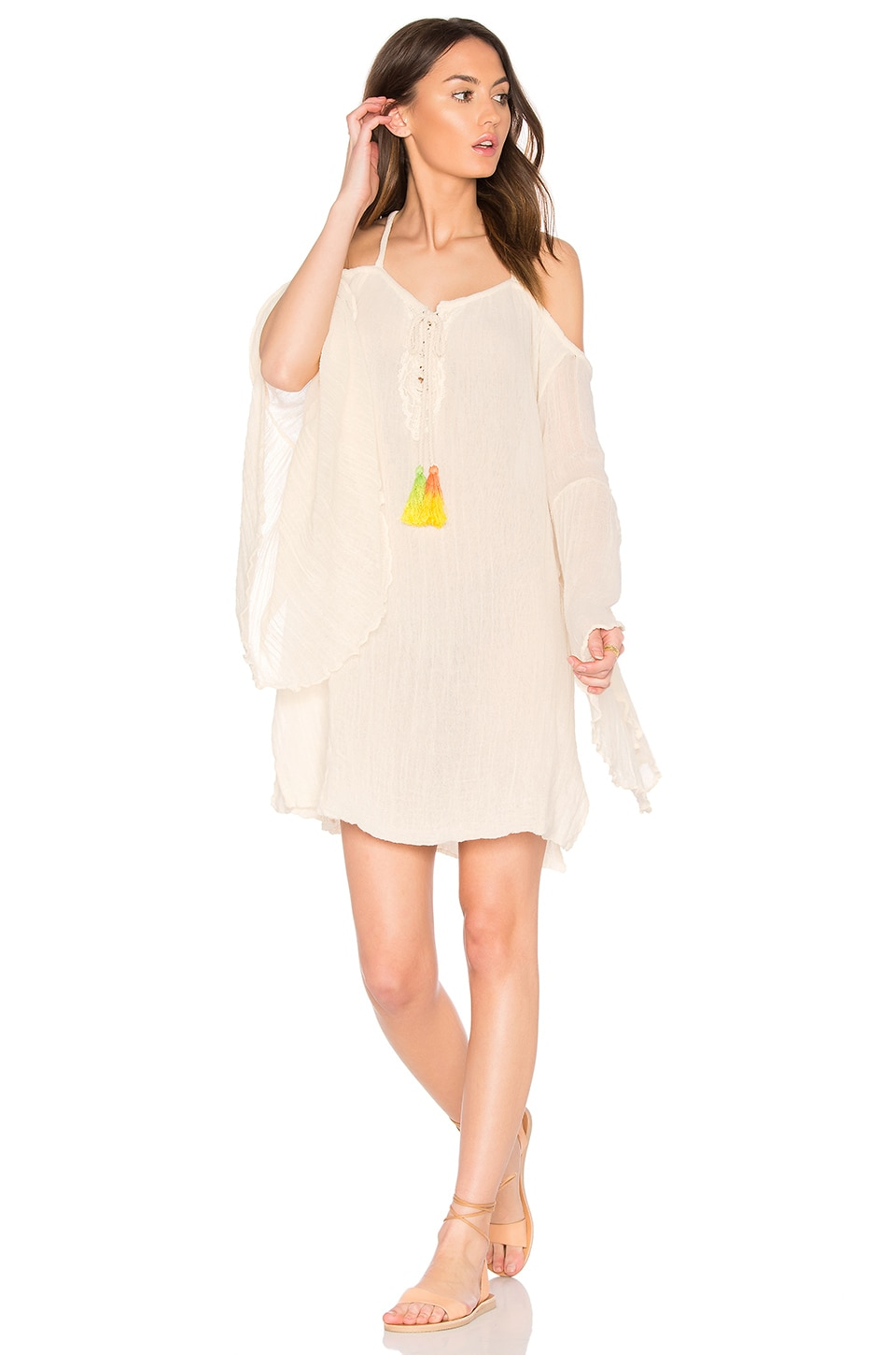 Jen's Pirate Booty Tassel Wildlife Drop Back Mini Dress in Natural & Green Yellow Tassels