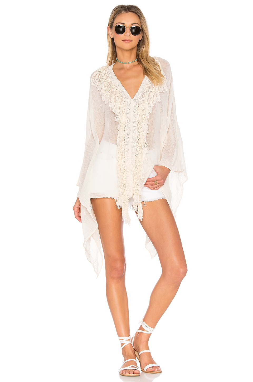 Jen's Pirate Booty Fringe Marseille Kaftan in Natural