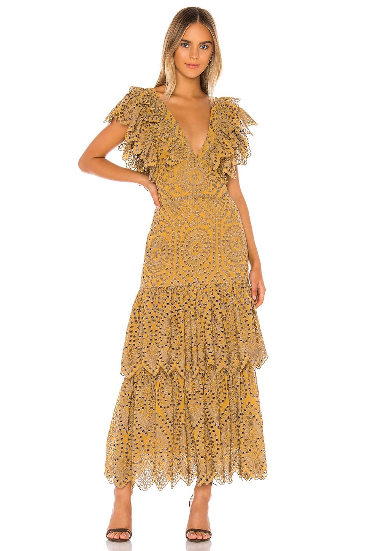 Jen's Pirate Booty Flamenco Maxi Dress in Citrine Mariachi Eyelet