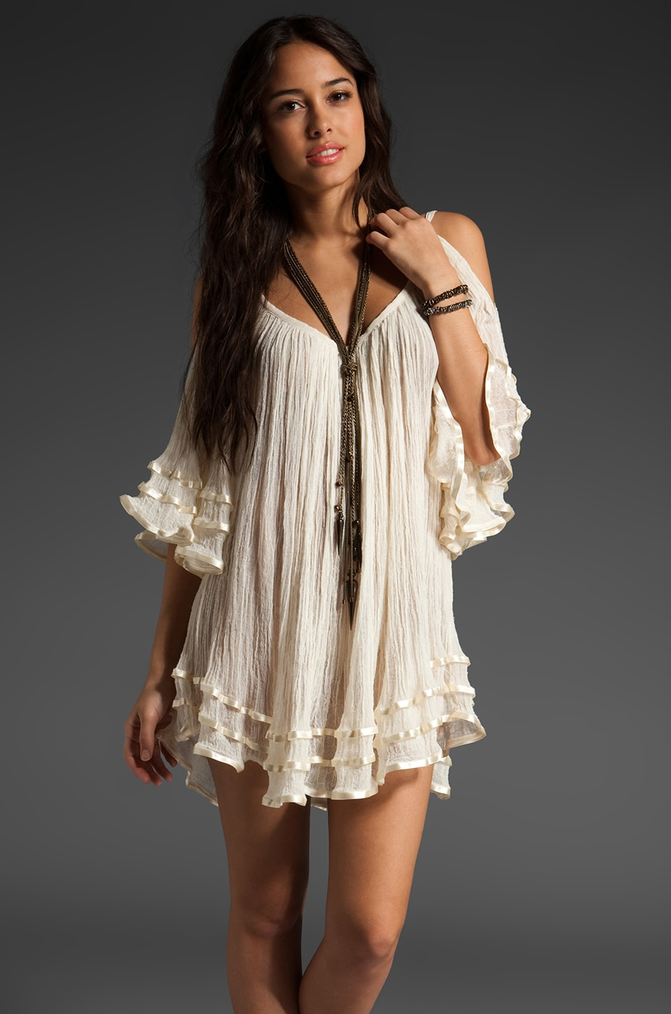 Jen's Pirate Booty Nena Open Shoulder Dress in Natural