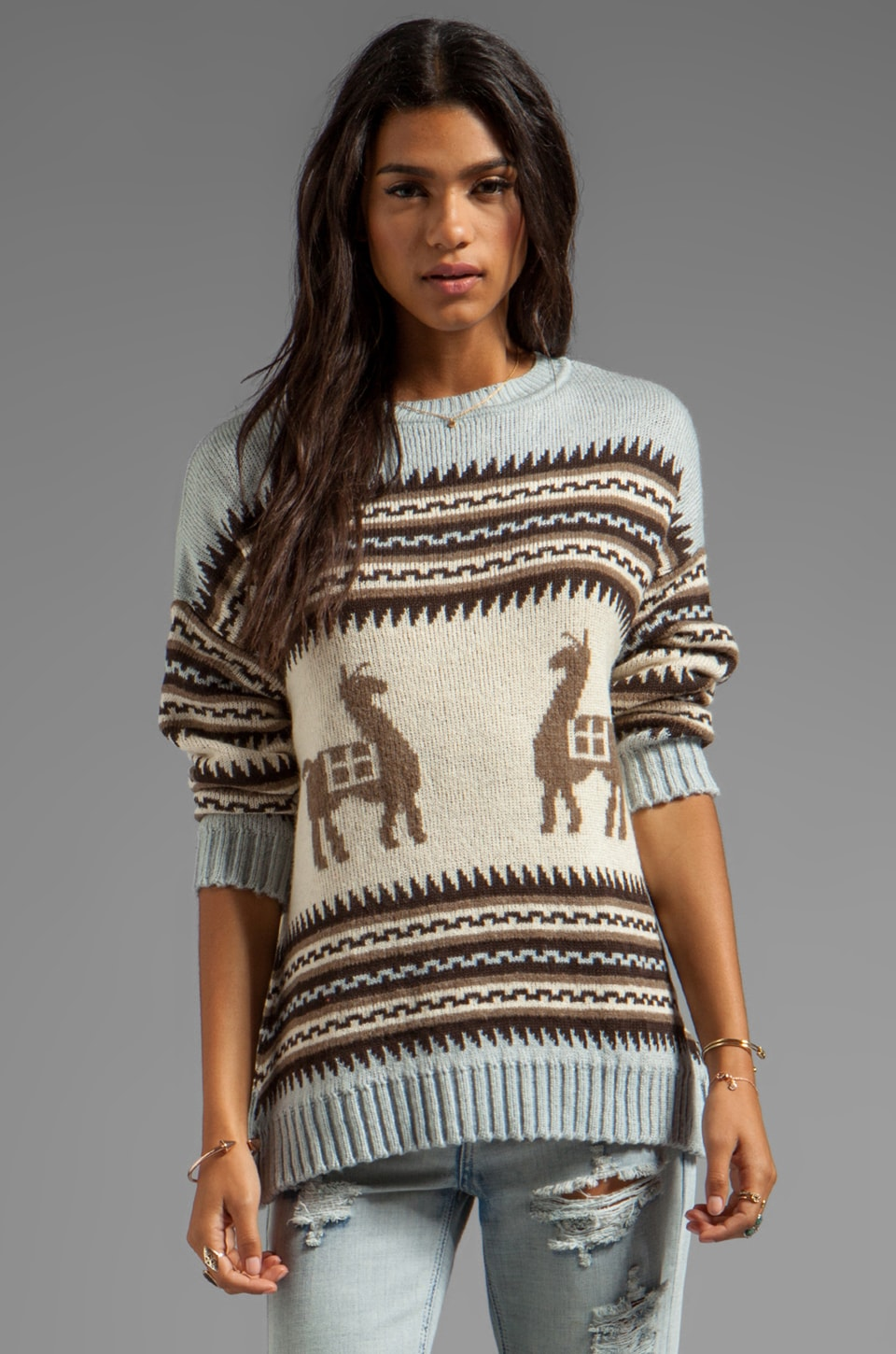 Jen's Pirate Booty Sun Valley Sweater in Storm Llama