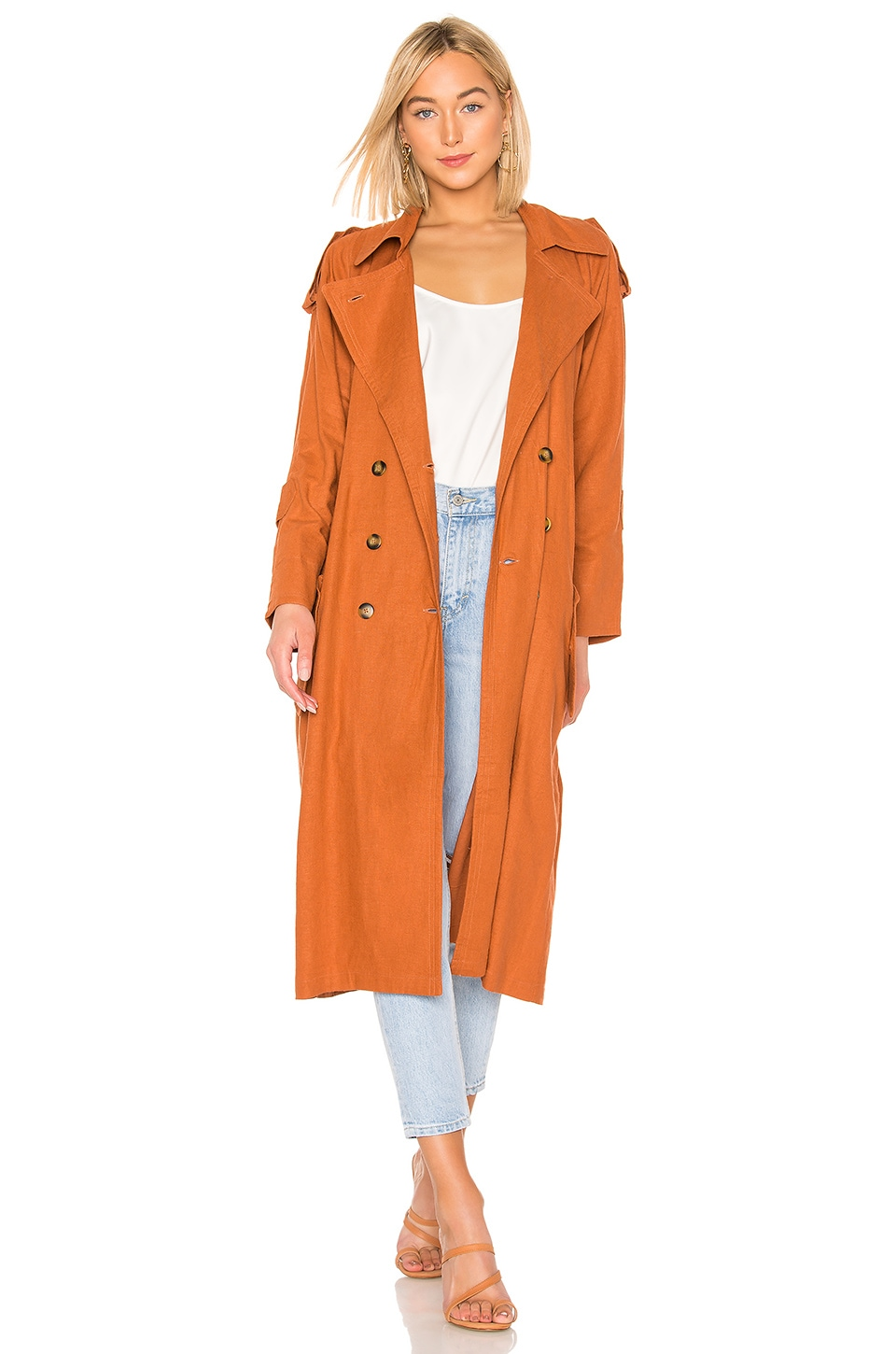 Jen's Pirate Booty Basic Instinct Trench Coat in Sunburn