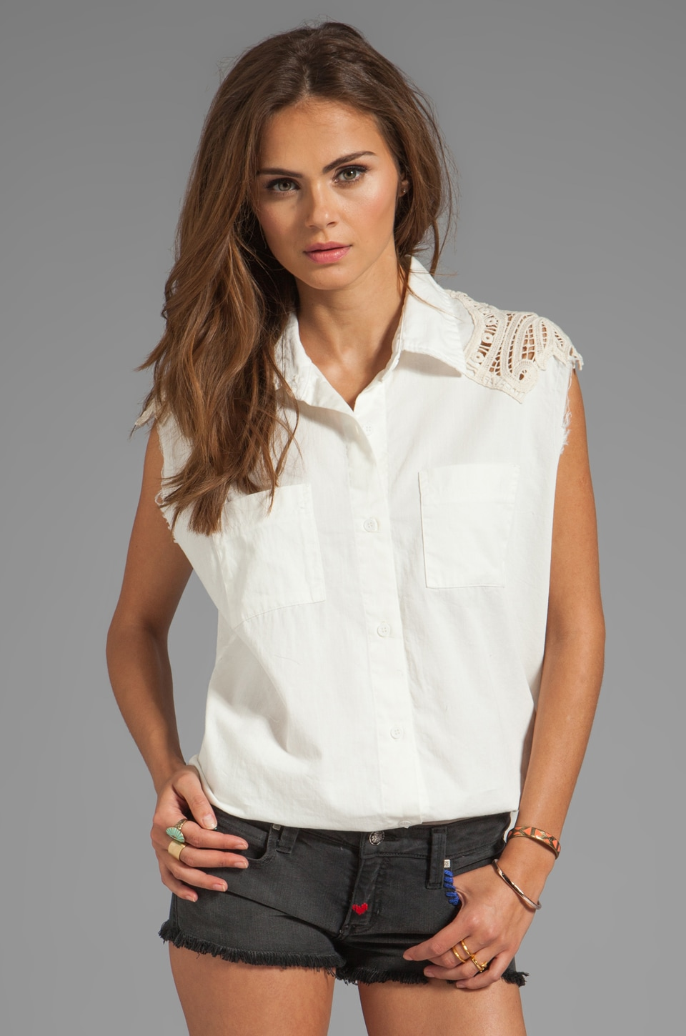 Jen's Pirate Booty Blessed Sleeveless Button Up in Worn White