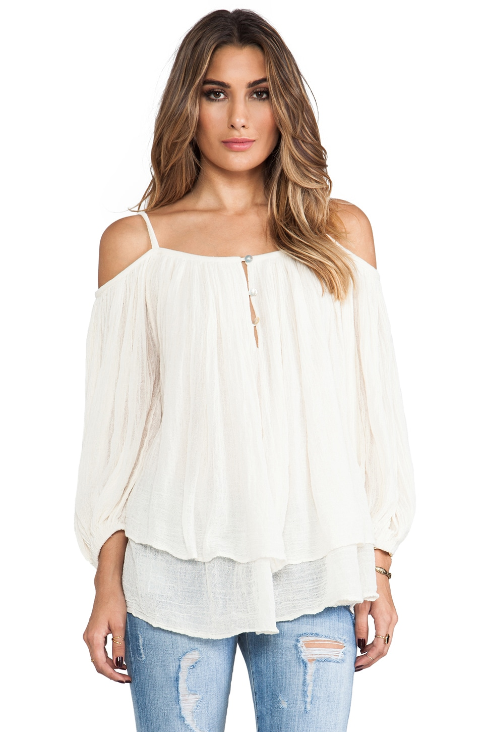 Jen's Pirate Booty Gauze Bowie Blouse in Natural