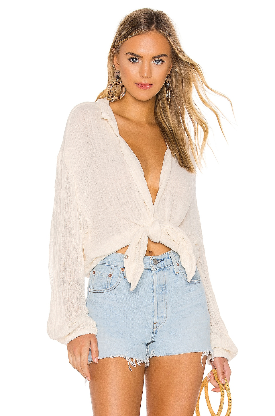 Jen's Pirate Booty Bonny Button Up Top in Natural