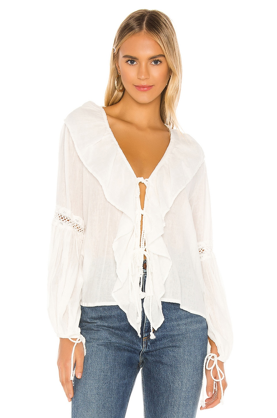 Jen's Pirate Booty Lupe Ruffle Top in White