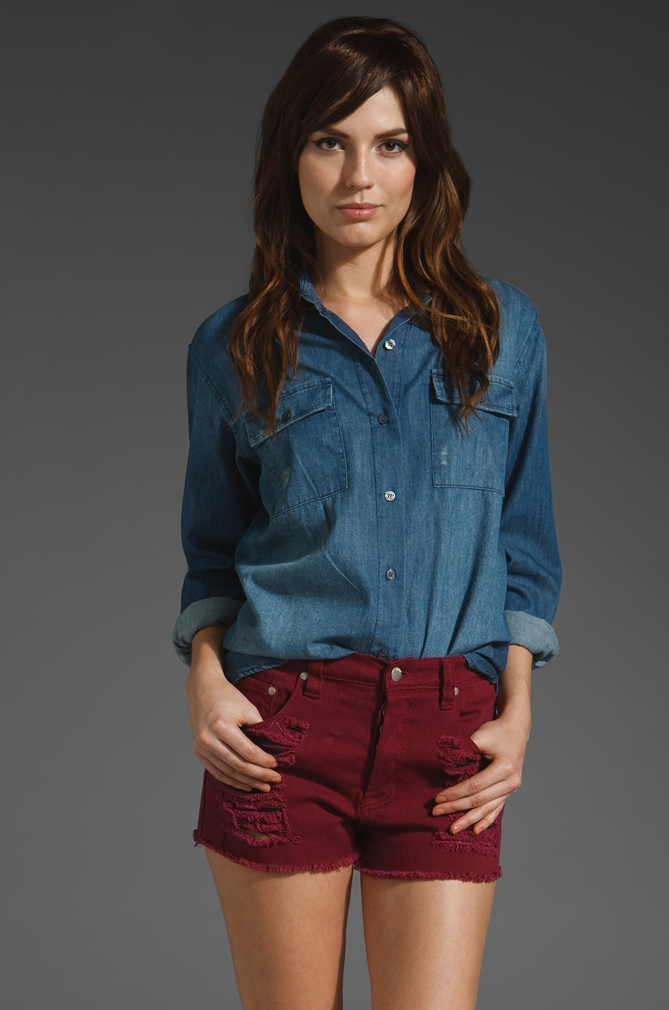Jen's Pirate Booty Texas Tuxedo Shirt in Denim Blue