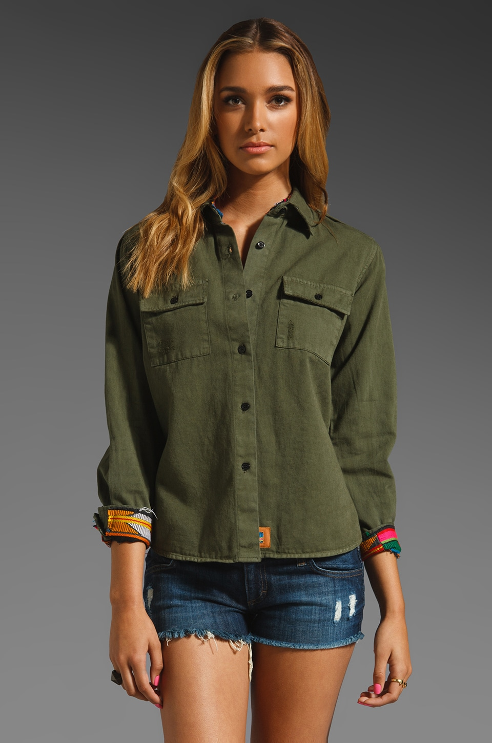 Jen's Pirate Booty Expatriate Guipil Button Up in Army