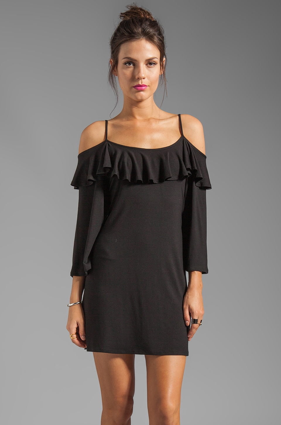 James & Joy Natalie Open Shoulder Dress in Black