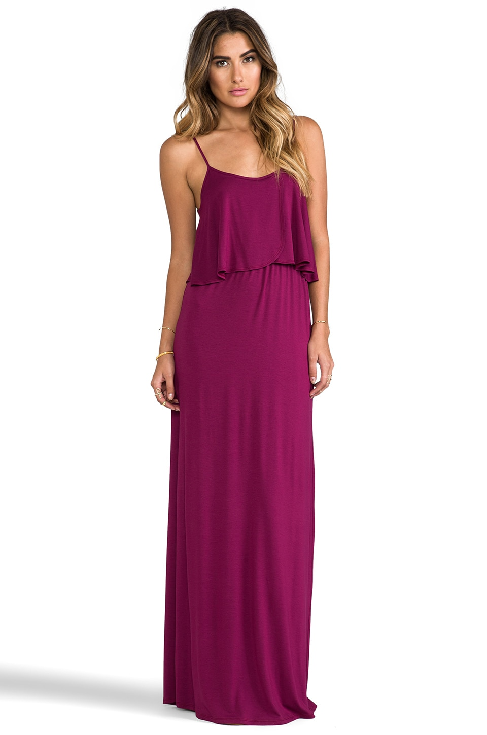 James & Joy Cindy Long Dress in Berry