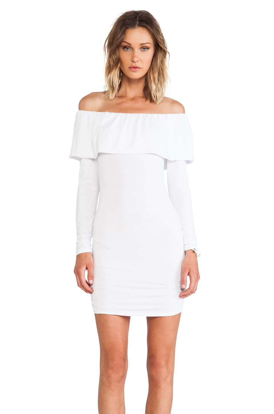 James & Joy Donna Rollover Dress in White