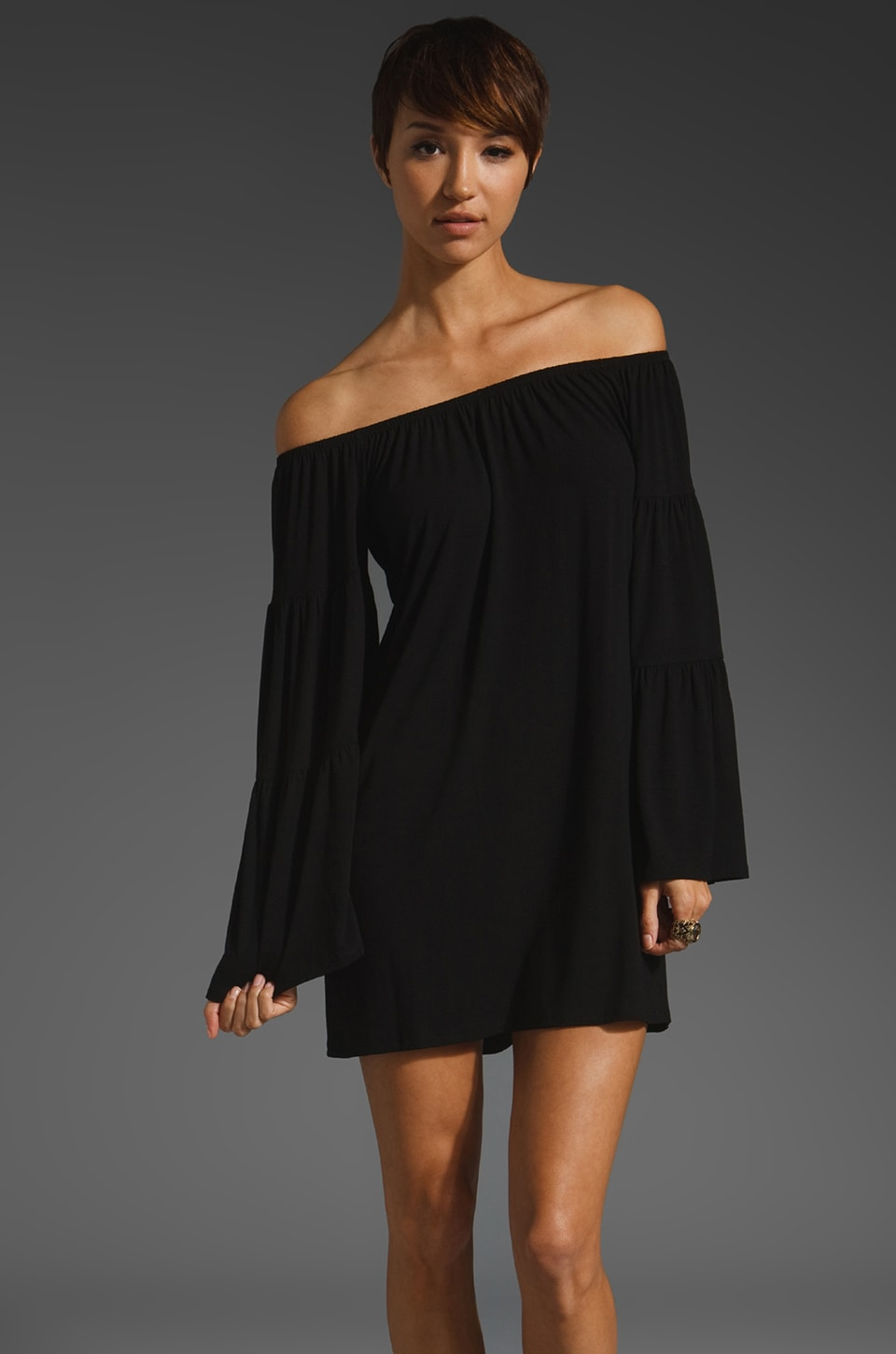 James & Joy Jenna Off Shoulder Dress in Black