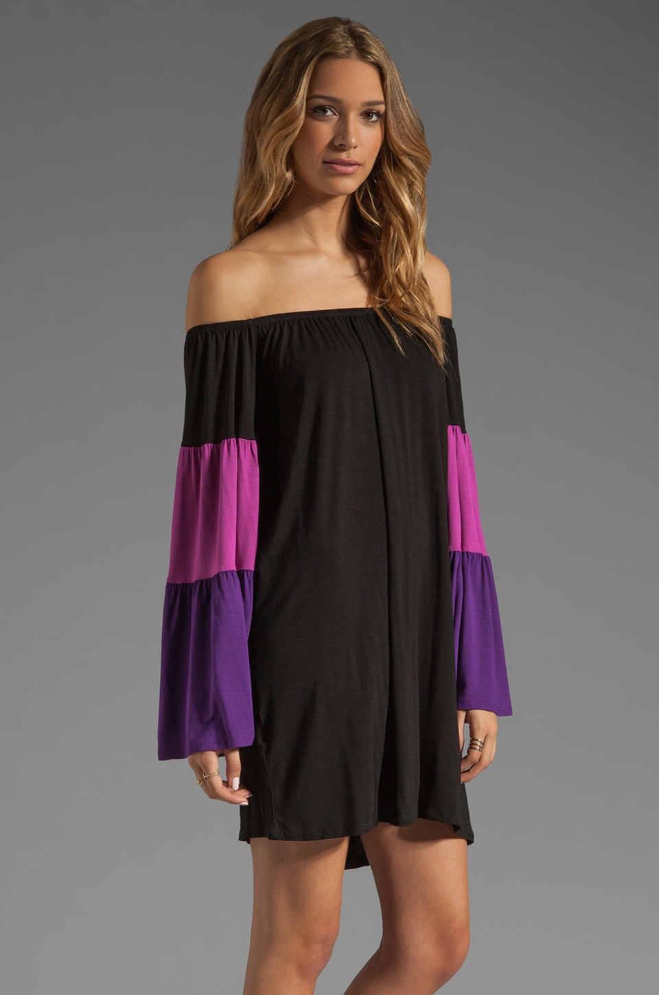 James & Joy Lucca off the Shoulder Dress in Magenta