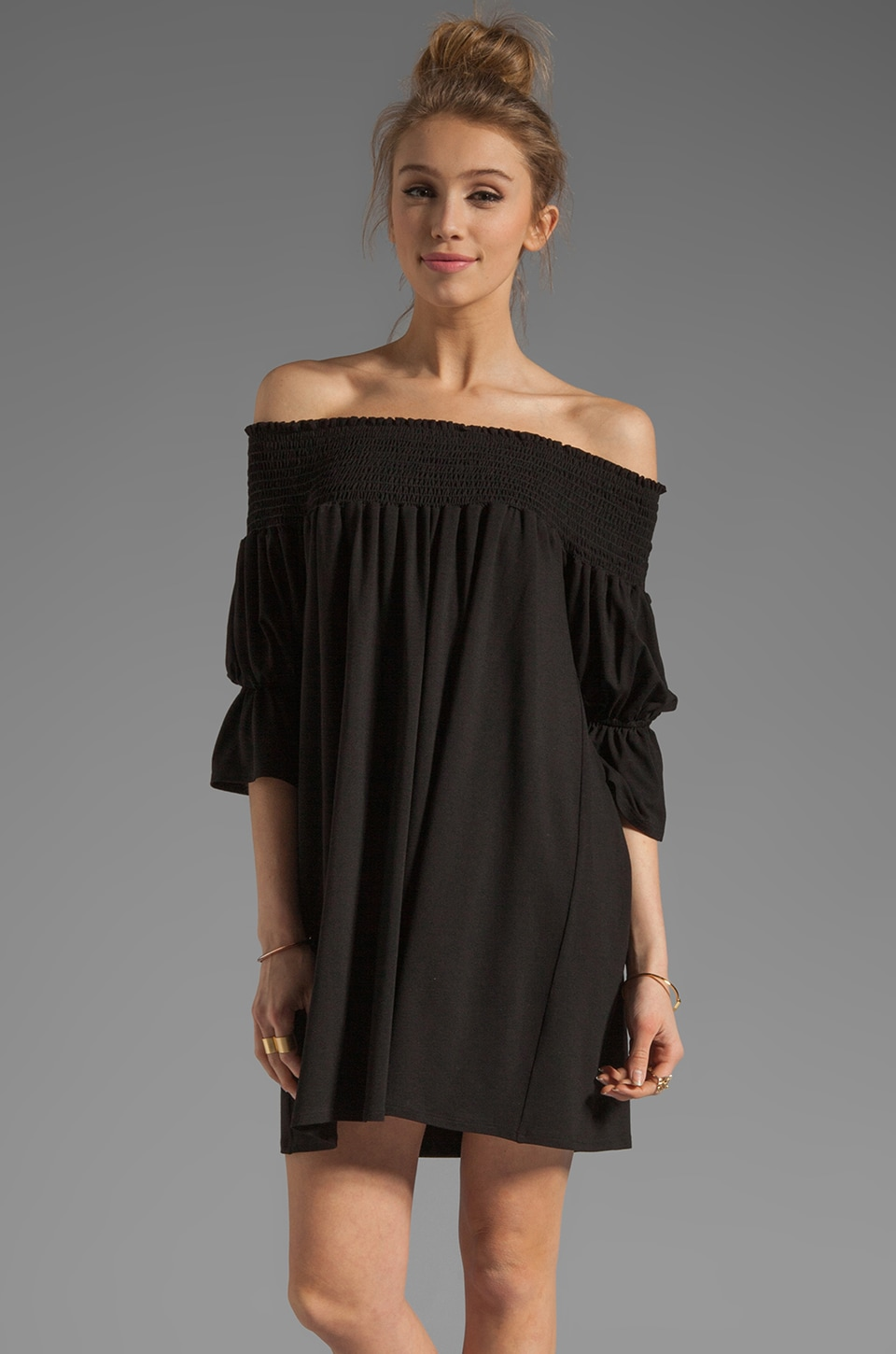 James & Joy Audrey Off the Shoulder Dress in Black
