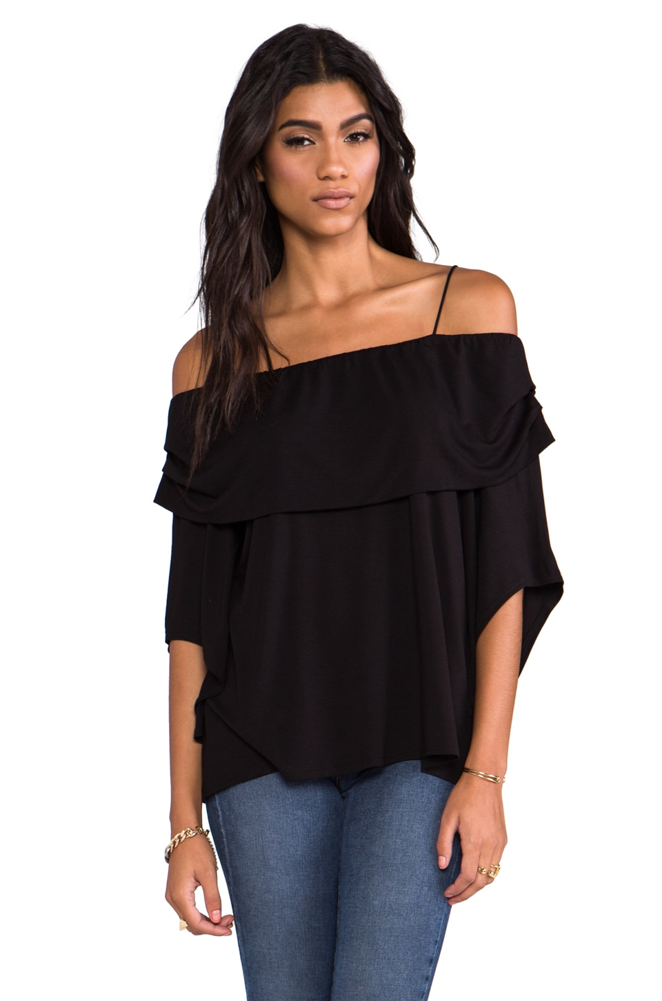 James & Joy Julie Open Shoulder Top in Black