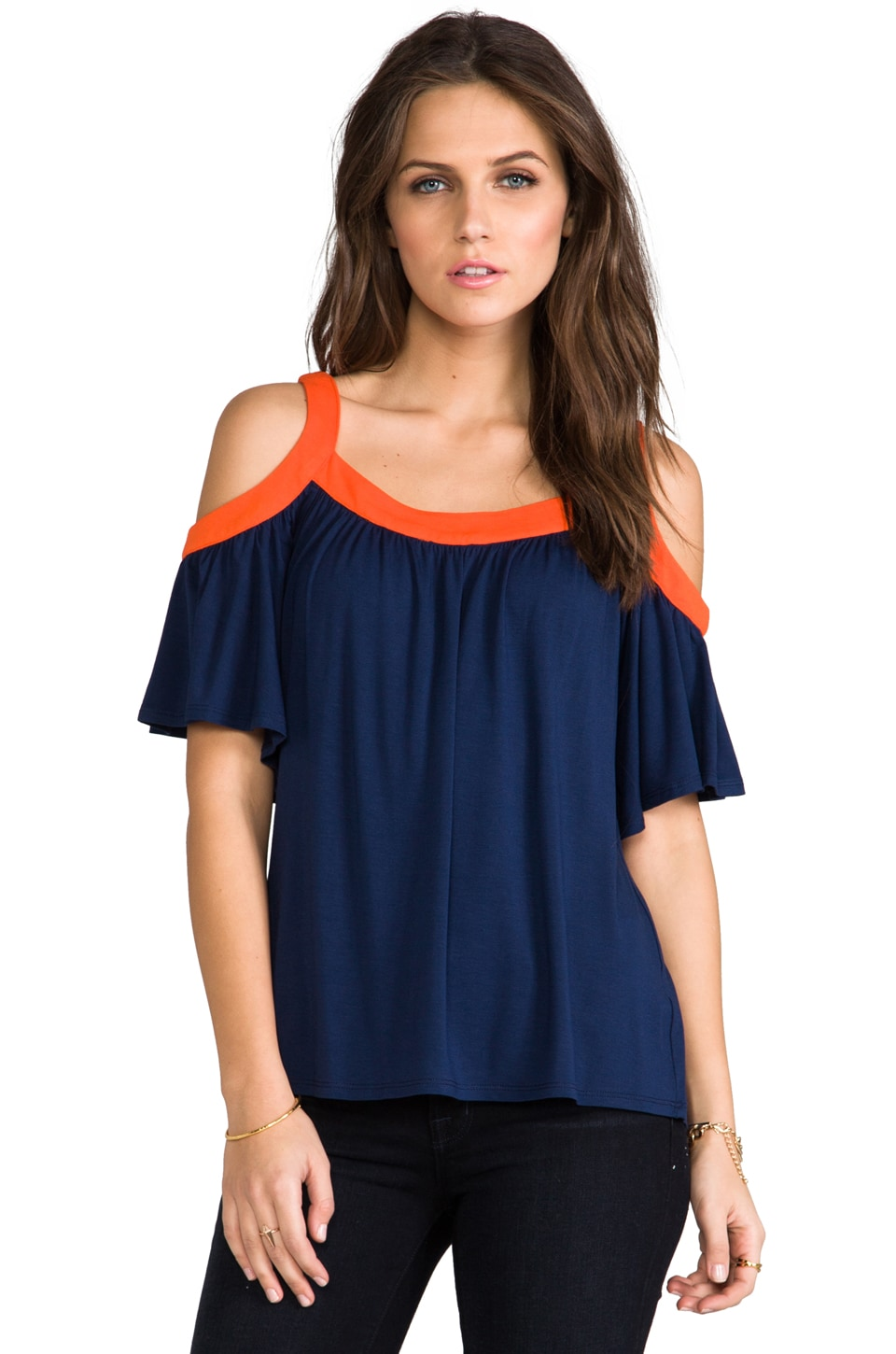 James & Joy Hillary Open Shoulder Top in Navy