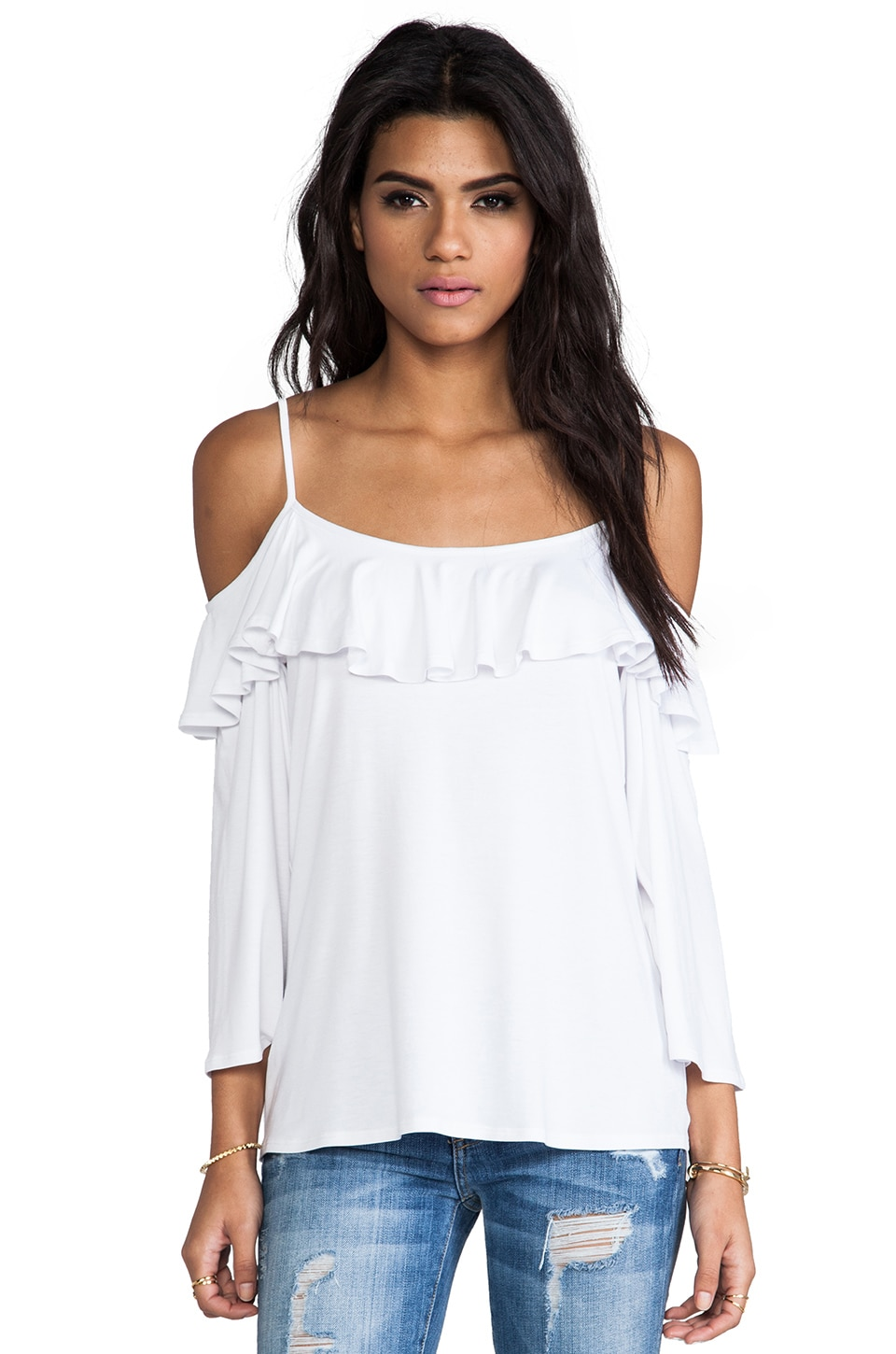 James & Joy Natalie Open Shoulder Top in White