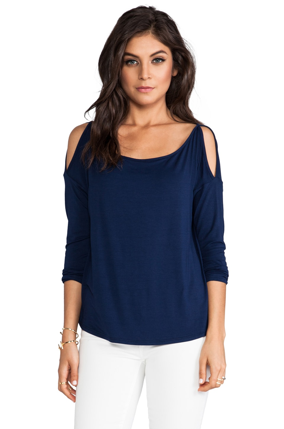 James & Joy Erin Skinny Sleeve Top in Navy