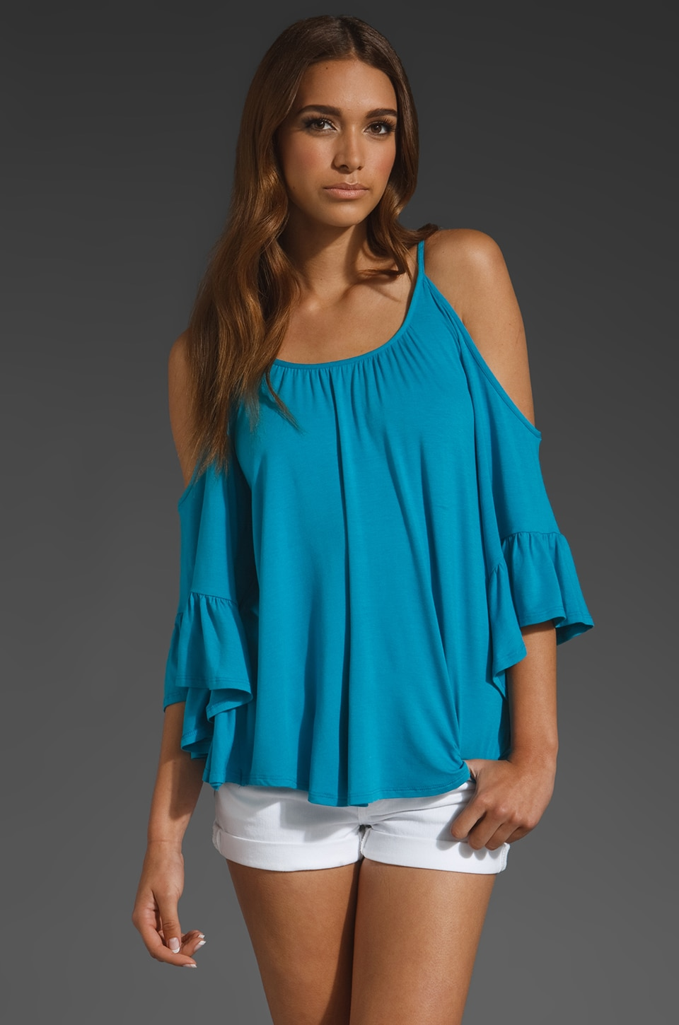 James & Joy Angela Open Shoulder Top in Electric Blue