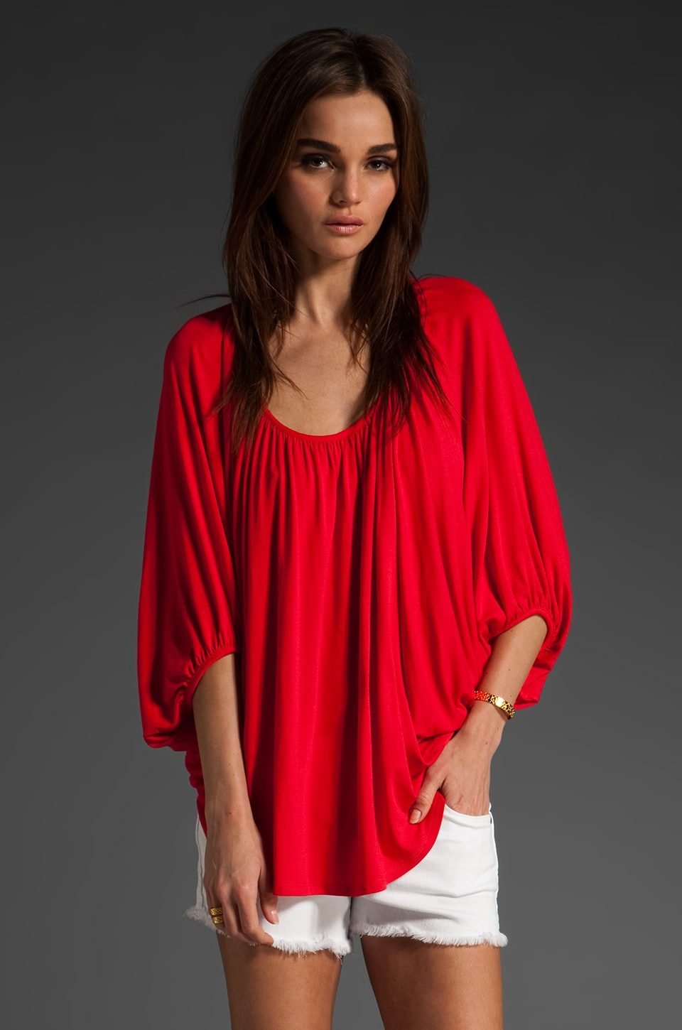 James & Joy James Dolman Sleeve Top in Red
