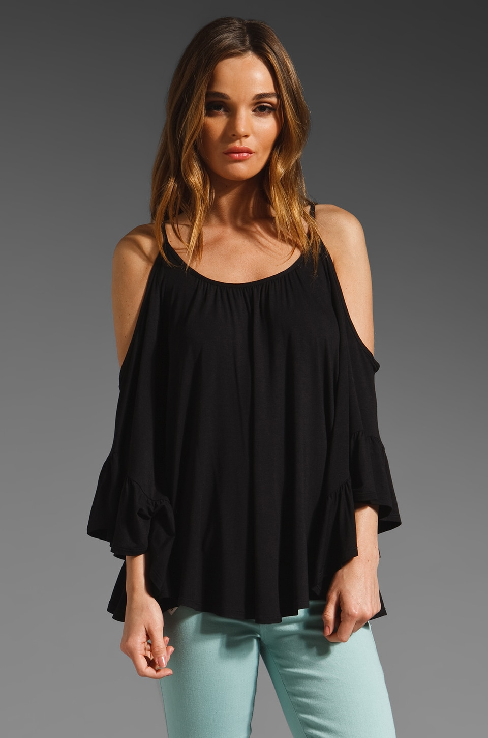 James & Joy Angela Open Shoulder Top in Black