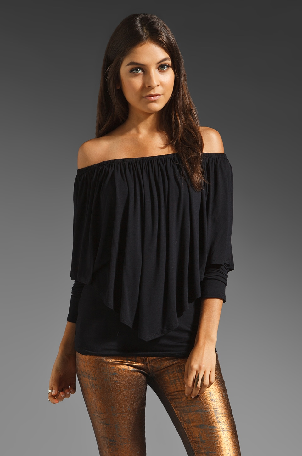 James & Joy Mina Long Sleeve Convertible Top in Black
