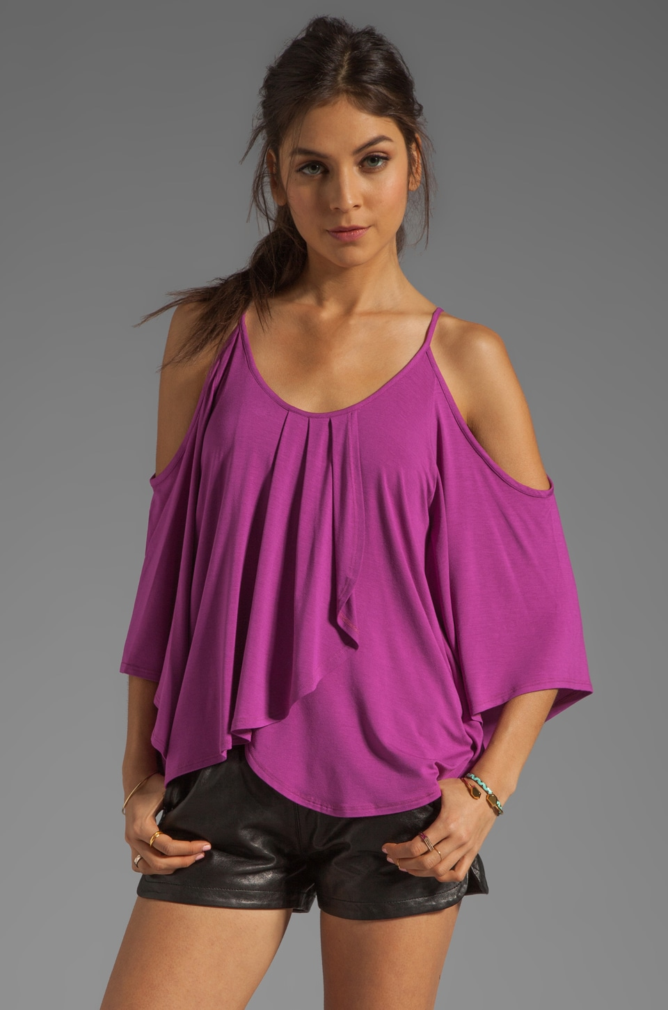 James & Joy Tanya Open Shoulder Batwing Top in Magenta