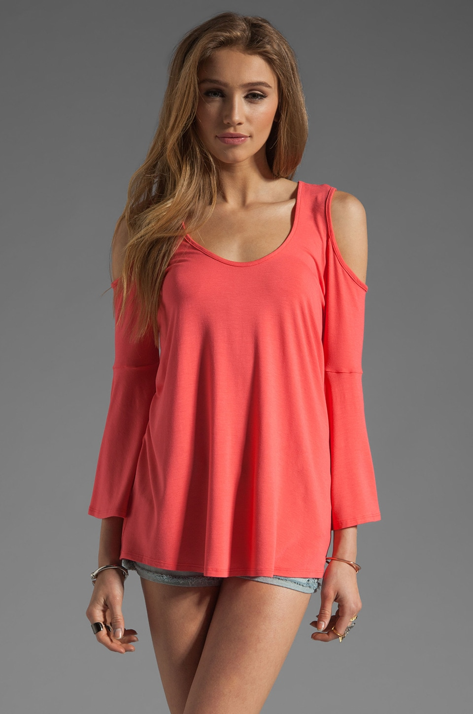 James & Joy Brenda Bell Sleeve Top in Coral