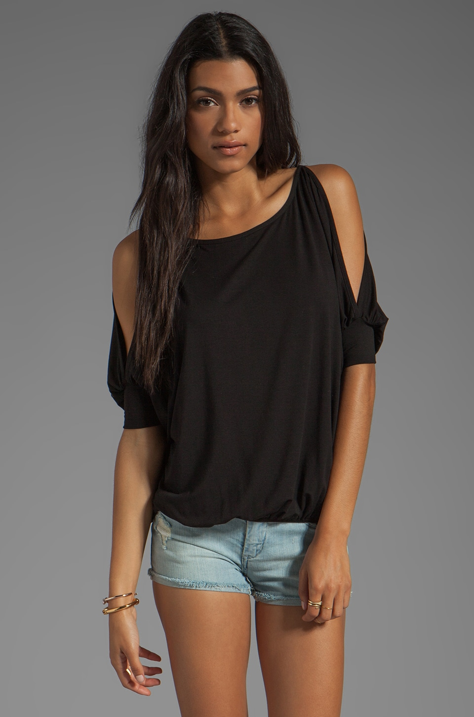 James & Joy Dawn Open Shoulder Top in Black