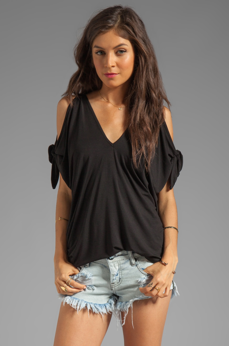 James & Joy Mikki Arm Tie Top in Black