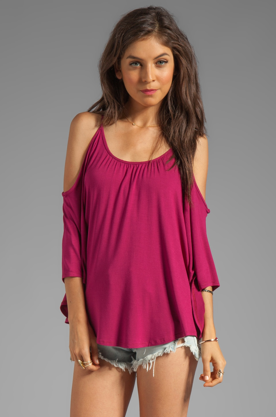 James & Joy Nick Open Shoulder Top in Cranberry