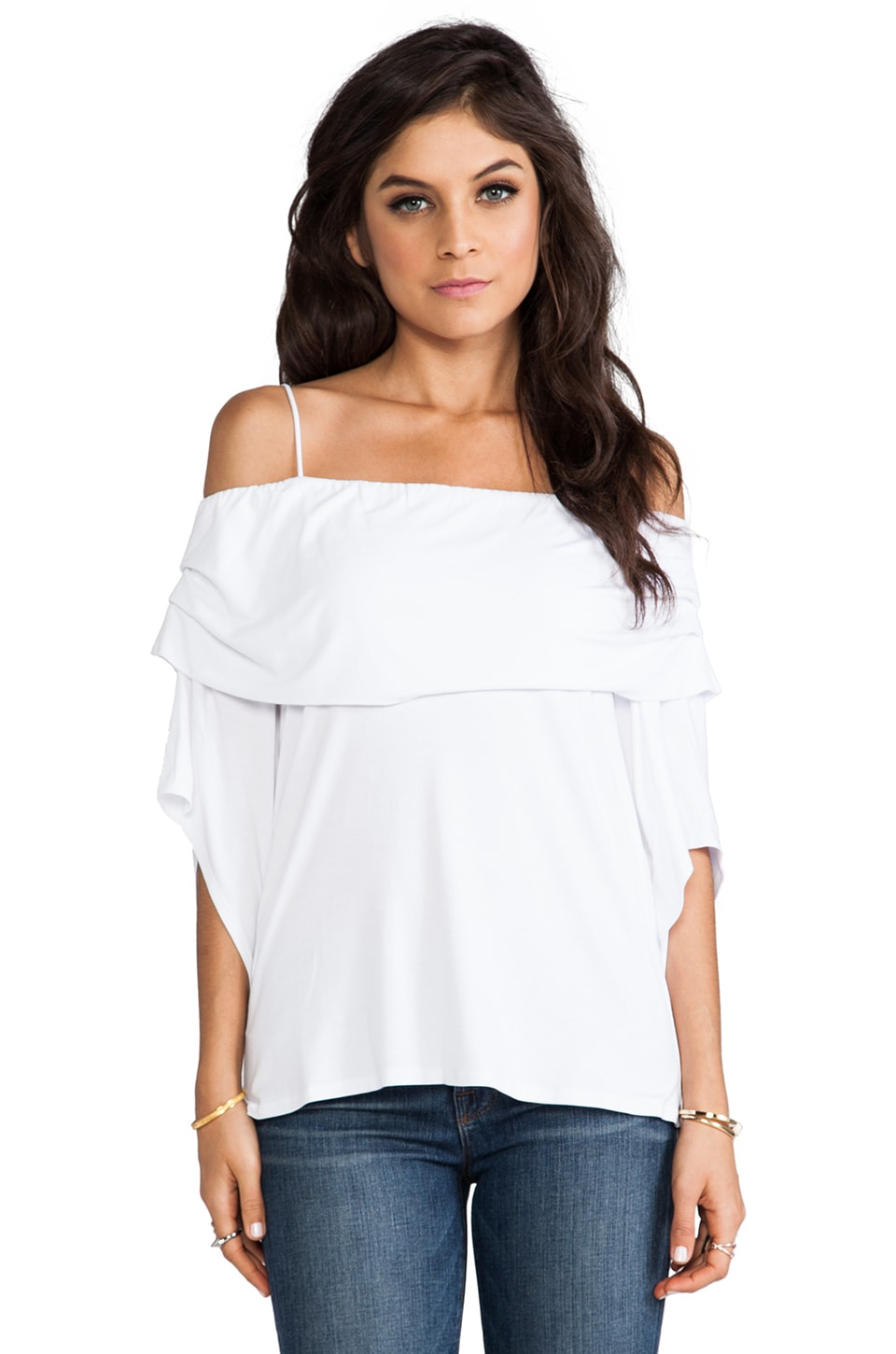 James & Joy Julie Open Shoulder Top in White