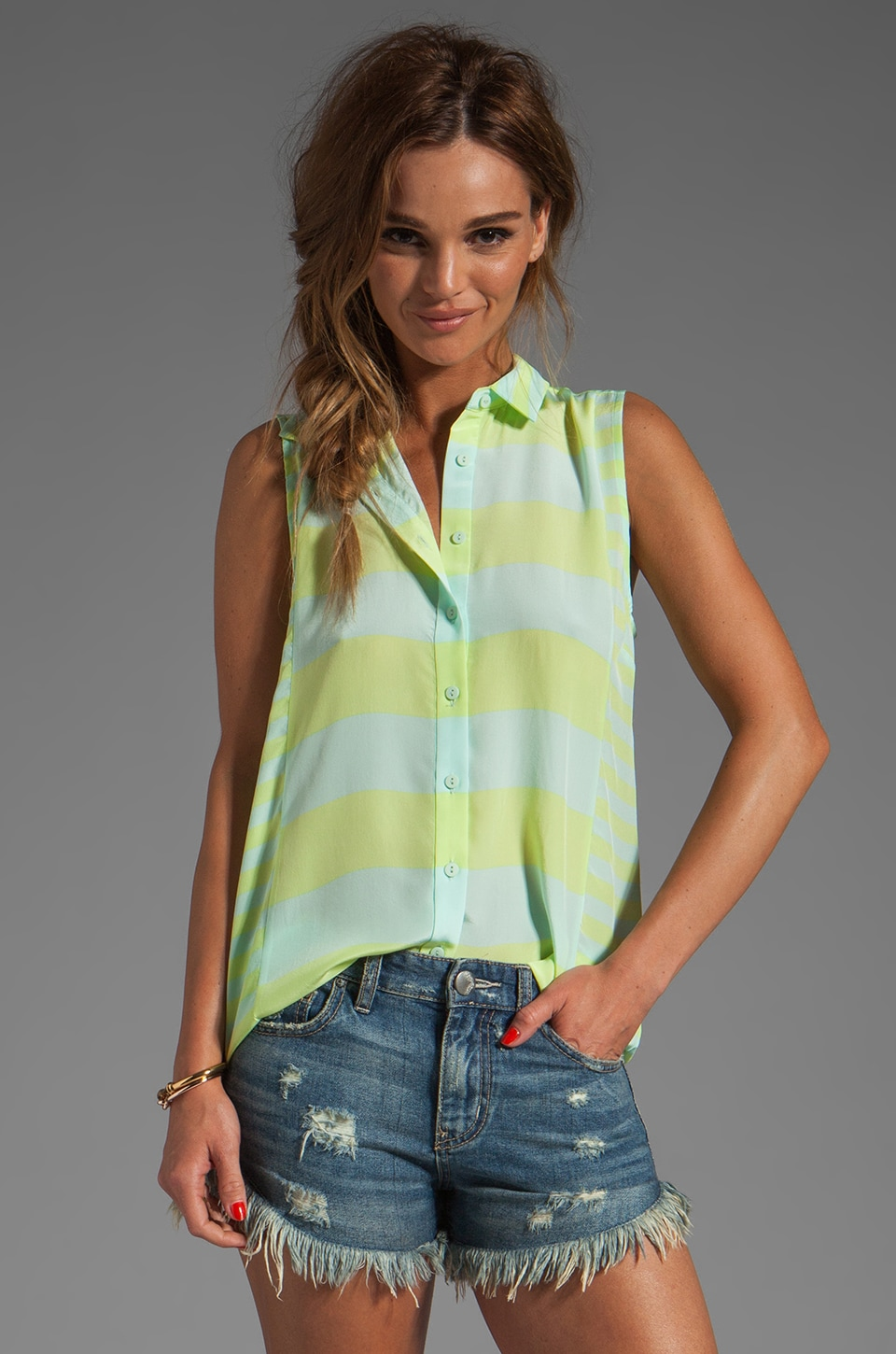 Jeunesse Edith Duo Stripe Sleeveless Blouse in Capri/Celery