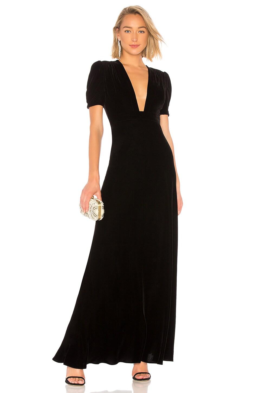 Plunge Neck Velvet Gown