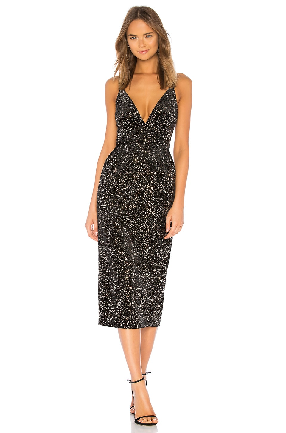 JILL JILL STUART Velvet Sequined Dress in Black & Gold