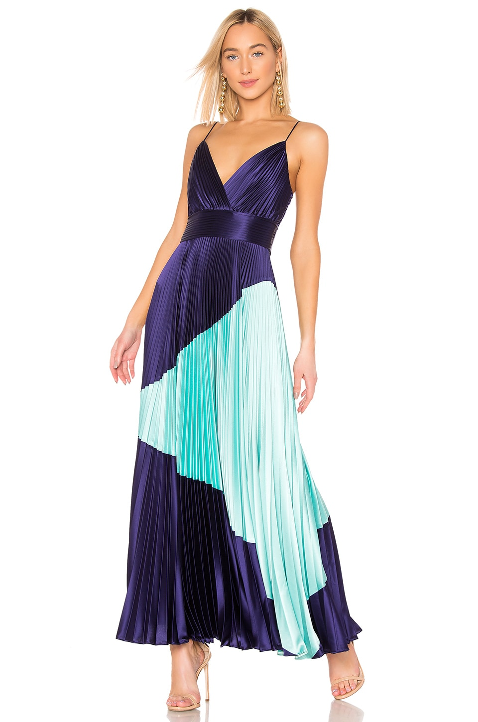 Jill Jill Stuart Dresses JILL JILL STUART PLEATED GOWN IN BLUE.
