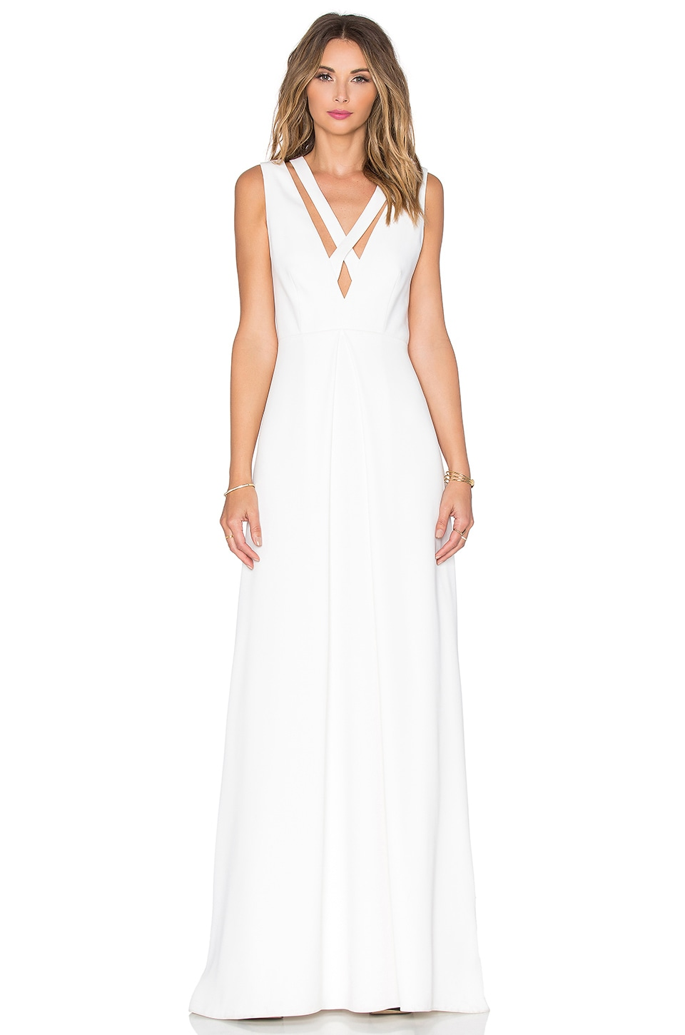 JILL JILL STUART Cross Front Gown in Off White