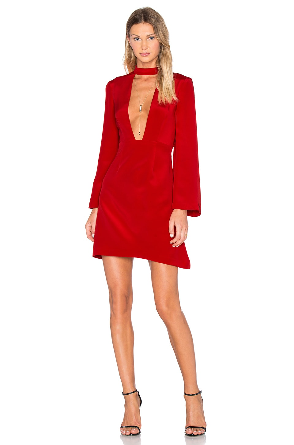 JILL JILL STUART Deep V Mini Dress in Apple Red
